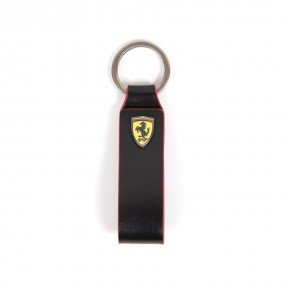 Scuderia Ferrari F1 Black Leather Shield Keychain